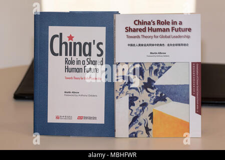 London, UK. 10th Apr, 2018. Photo taken on April 10, 2018 shows Professor Martin Albrow's books, China's Role in a Shared Human Future, at the 2018 London Book Fair in London, Britain. The English edition of Prof. Martin Albrow's book, China's Role in a Shared Human Future, was launched Tuesday at the 2018 London Book Fair. Credit: Ray Tang/Xinhua/Alamy Live News - Stock Photo