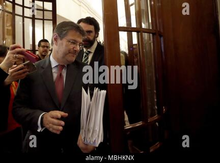 Madrid, Spain. 11th Apr, 2018. Spanish Minister of Justice, Rafael Catala, arrives to attend question time at the Lower House in Madrid, Spain, 11 April 2018. Credit: Javier Lizon/EFE/Alamy Live News - Stock Photo