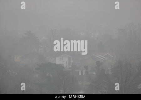 London UK. 11th April 2018. UK Weather: Wimbledon landscape is covered in early morning mist on a cold overcast day Credit: amer ghazzal/Alamy Live News - Stock Photo