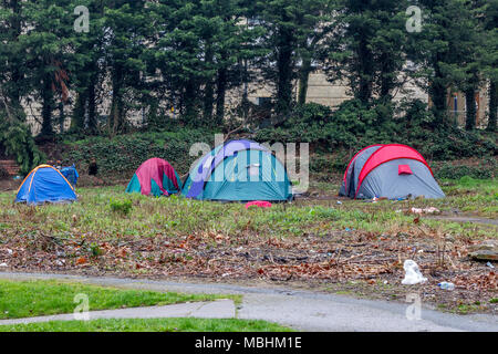 Northampton. 11th Apr, 2018. UK Weather: Another dull miserable day for the homeless having to live in tents on derelick ground near the town centre. Credit: Keith J Smith./Alamy Live News - Stock Photo