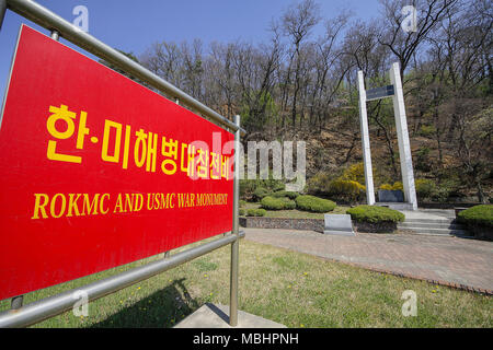 Goyang, GYEONGGI, SOUTH KOREA. 11th Apr, 2018. April 11, 2018-Goyang, South Korea-A View of ROKMC and USMC war Monument. The Korean and the U.S. Marines succeeded in the historical Incheon landing openration during the Korean war, and regained Seoul, the capital of Korea, after engaging in countless allied operations, such as the Battle of Mt. Dosol and the battle of Kim Il Seong(924m) Mao Zedong(1,026m) Hights. While the Armistice line was being adjusted during the Armistice talks in july 1951, the 1st combat unit of the Korean marines and the 1st base of the U.S. Marines were located in Ja - Stock Photo