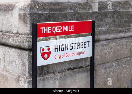The QE2 Mile and high street sign, High Street, Southampton, Hampshire, England, United Kingdom - Stock Photo