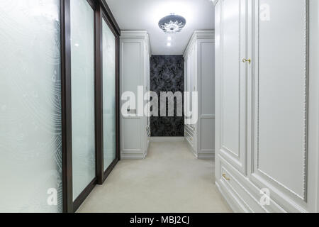 Luxury Dressing Room In Apartment With Carpet Floor Big White