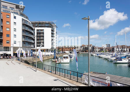 Quayside at Ocean Village Marina, Southampton, Hampshire, England, United Kingdom - Stock Photo