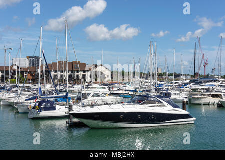 Boats moored at Ocean Village Marina, Southampton, Hampshire, England, United Kingdom - Stock Photo