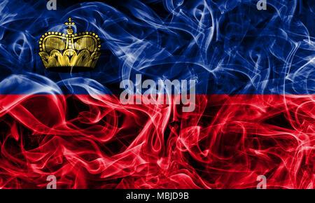 Liechtenstein smoke flag - Stock Photo
