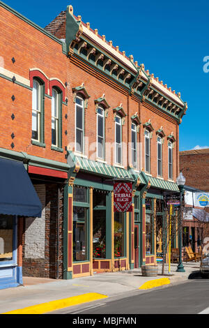 National Historic District; shops in downtown Salida; Colorado; USA - Stock Photo