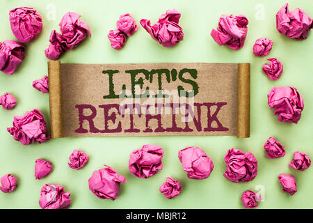 Word writing text Let Us Rethink. Business concept for Give people time to think things again Remodel Redesign written Cardboard Piece the light green - Stock Photo