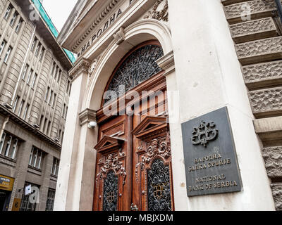 BELGRADE, SERBIA - MARCH 31, 2018: Main entrance to the National Bank of Serbia (NBS, Narodna Banka Srbije), the central bank of the country  Picture  - Stock Photo