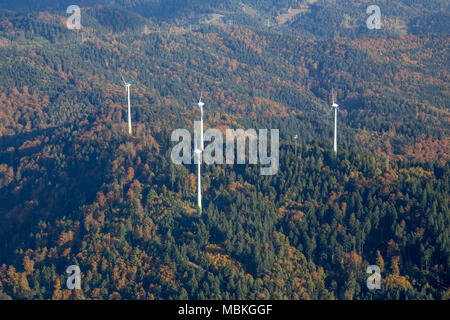 Wind Power Plants on a hill - Stock Photo