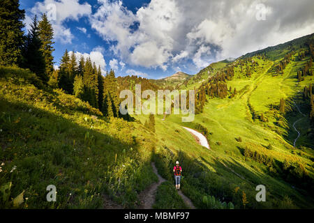 Tourist woman in pink shirt with backpack in the mountains with cloudy sky at sunset - Stock Photo
