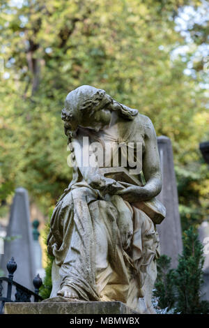 PARIS, FRANCE - SEPT 12, 2014: Tomb of Frederic Chopin, famous Polish composer, at Pere Lachaise cemetery in Paris, France - Stock Photo