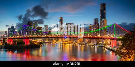 Brisbane. Cityscape image of Brisbane skyline panorama, Australia during dramatic sunset. - Stock Photo