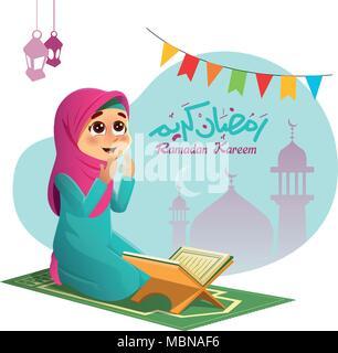 Illustration of A Muslim Girl Praying for Allah - Stock Photo