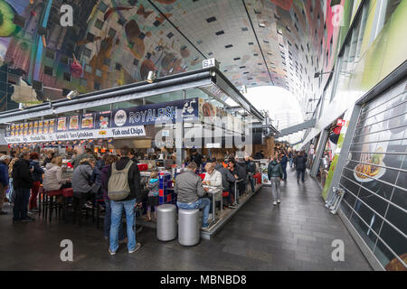 Interior monumental and multifunctional building 'Markthal' with a market hall indoors, Rotterdam, the Netherlands - Stock Photo
