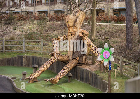 Large carving of an ent or tree man, Centre Parcs mini golf Woburn Forest - Stock Photo
