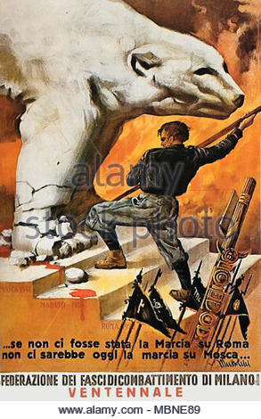 Italian WWII Fascist anti-Soviet propaganda poster - Stock Photo