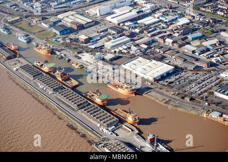 An aerial view of Albert Dock, Hull, and the river Humber, East Yorkshire, Northern England, UK - Stock Photo