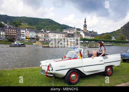 Amphic car, a german amphibious vehicle at Moselle river, Cochem, Rhineland-Palatinate, Germany