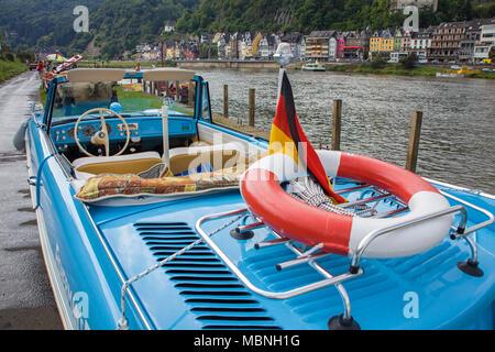 Amphic car, a german amphibious vehicle at Moselle river at Cochem, Rhineland-Palatinate, Germany
