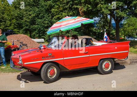 Amphic car, a german amphibious vehicle at Moselle river, Minheim, Rhineland-Palatinate, Germany