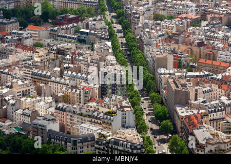 Aerial view of typical Parisian building and boulevard with green trees as seen from Montparnasse Tower in Paris, France . - Stock Photo