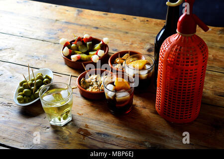fe of typical spanish and italian snack - Stock Photo