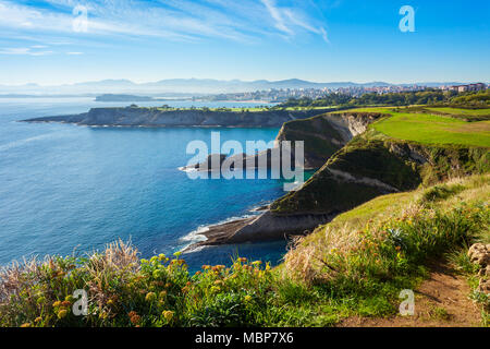 Santander city cliff aerial view from the viewpoint near the Faro Cabo Mayor lighthouse in Santander city, Cantabria region of Spain - Stock Photo