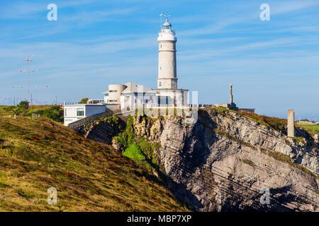 Faro Cabo Mayor lighthouse in Santander city, Cantabria region of Spain - Stock Photo