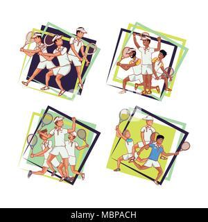 men players tennis characters vector illustration design - Stock Photo