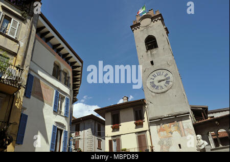 Torre Civica, clock tower in Lovere, lake Iseo, Lombardy, Italy - Stock Photo