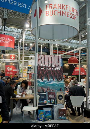 London,UK.10th April 2018. Exhibitors and visitors at the Germany stand at London Book Fair 2018 at the Olympia Exhibition Centre. London. - Stock Photo