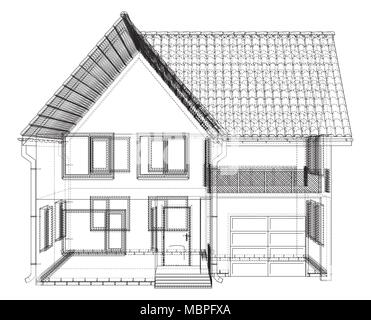 Perspective wireframe of house exterior. Vector created of 3d. - Stock Photo