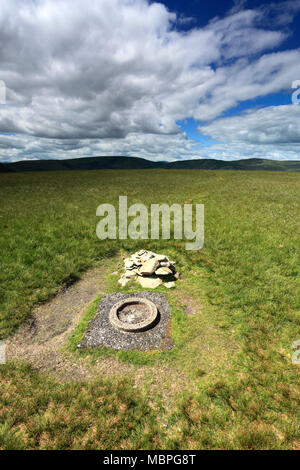 Summit cairn on Branstree Fell, Mardale Common, Lake District National Park, Cumbria County, England, UK - Stock Photo