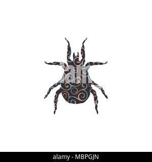 Mite parasite spiral pattern color silhouette animal. Vector Illustrator. - Stock Photo