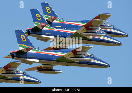 Frecce Tricolori (Tricolour Arrows) officially known as the 313° Gruppo Addestramento Acrobatico aerobatic demonstration team of the Italian Air Force - Stock Photo