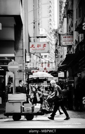 Busy street scene in Hong Kong - Stock Photo