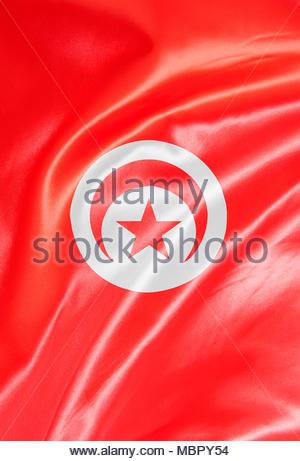 Digital composite. Satin fabric flag, Tunisia - Stock Photo