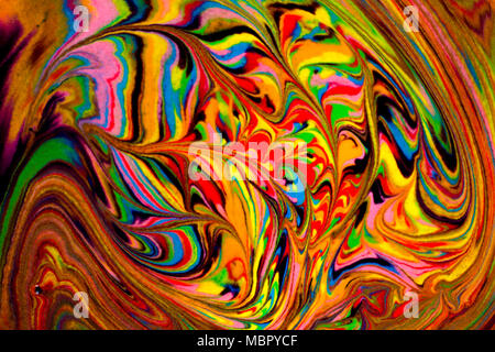 Colorful abstract acrylic painting. Natural dynamic mixture of oil colored pigments fluid flow background. Naturally blurred. - Stock Photo