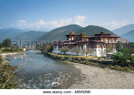 View of Punakha Dzong on a fine and sunny day in March, Bhutan. The monastery is famous for it's architecture and festivals (tcheshu). - Stock Photo