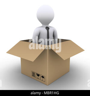 3d businessman is inside of an opened carton box - Stock Photo