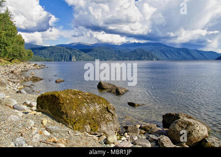 Teletskoye lake, Siberia. View of the natural Bay on the right Bank