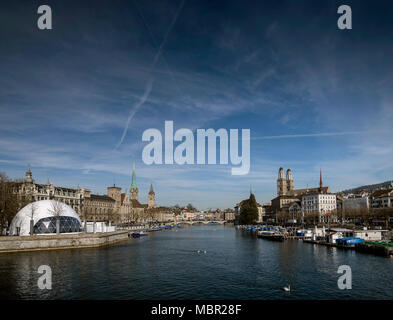 central zurich city old town and limmat river landmark view in switzerland - Stock Photo