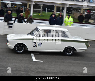 Andrew Wolfe, Ford Lotus Cortina Mk1, Sears Trophy, Saloon cars 1970-1982, 76th Members Meeting, England, Goodwood, March 2018, Sussex, Autosport, car - Stock Photo