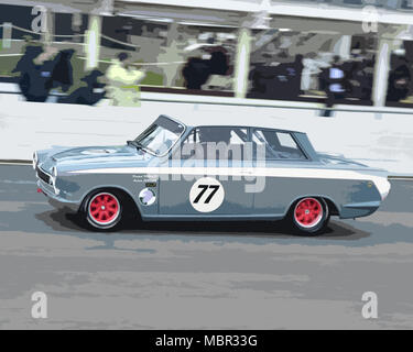 Andrew Jordan, Ford Lotus Cortina Mk1, winner, Sears Trophy, Saloon cars 1970-1982, 76th Members Meeting, England, Goodwood, March 2018, Sussex, Autos - Stock Photo