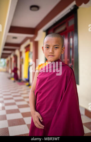 Gangtok, India - May 3, 2017: Unidentified young novice buddhist monk in traditional red robes standing in front of Tsuglakhang monastery in Gangtok,  - Stock Photo