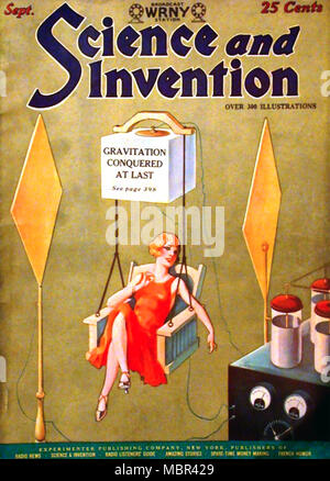 science and invention american magazine cover about 1928 stock photo