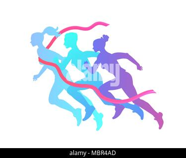 Three women silhouette run to victory, overcoming difficulties. Marathon, running to the finish. Healthy lifestyle, participation in the marathon runn - Stock Photo