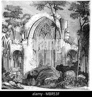 The East Window of Netley Abbey is a ruined late medieval monastery in the village of Netley near Southampton in Hampshire, England. The abbey was founded in 1239 as a house for monks of the austere Cistercian order. Despite being a royal abbey, Netley was never rich and the monks were best known to their neighbours for the generous hospitality they offered to travellers on land and sea.  In 1536, Netley Abbey was seized by Henry VIII of England during the Dissolution of the Monasteries and the buildings were converted into a mansion. - Stock Photo