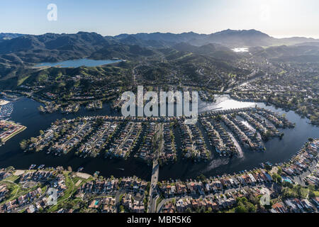 Aerial view of lakeside homes and street in the Thousand Oaks and Westlake Village communities in Southern California. - Stock Photo